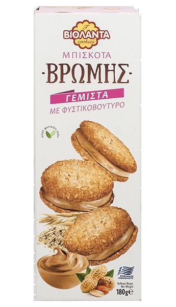 Овесени бисквити с крем от фъстъчено масло 180 гр.
