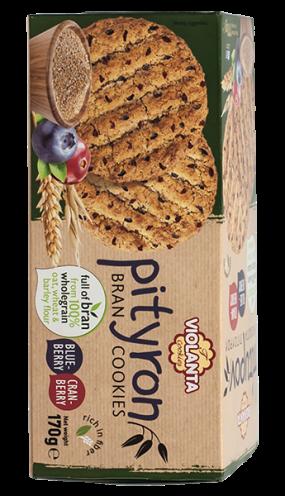 Пълнозърнести бисквити Pityron с боровинки 170 гр.