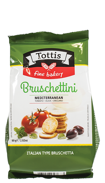 Брускетини Tottis с вкус на домати и маслини 80 гр.